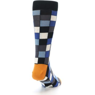 Image of Black Blue Grey Checkered Men's Dress Socks (side-1-back-20)