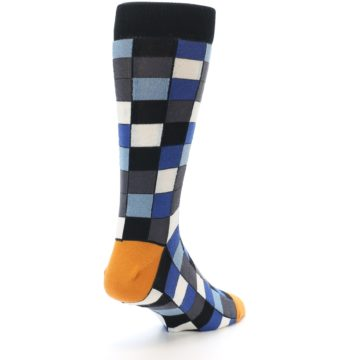 Image of Black Blue Grey Checkered Men's Dress Socks (side-1-back-21)