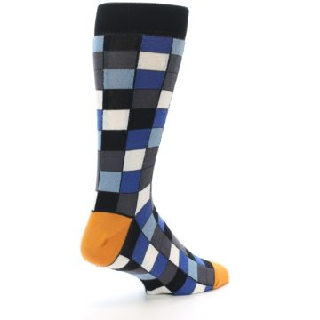 Image of Black Blue Grey Checkered Men's Dress Socks (side-1-back-22)