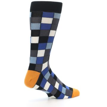 Image of Black Blue Grey Checkered Men's Dress Socks (side-1-23)