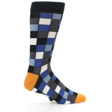 Image of Black Blue Grey Checkered Men's Dress Socks (side-1-24)