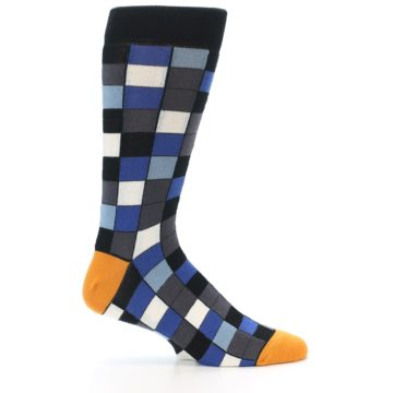 Image of Black Blue Grey Checkered Men's Dress Socks (side-1-25)