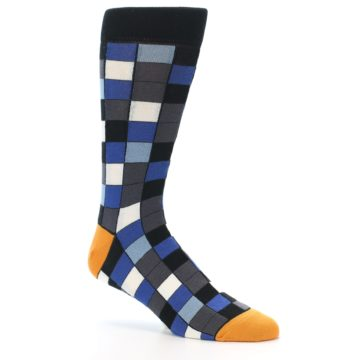 Image of Black Blue Grey Checkered Men's Dress Socks (side-1-26)