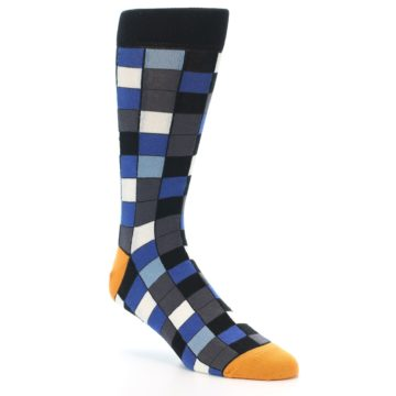Image of Black Blue Grey Checkered Men's Dress Socks (side-1-27)