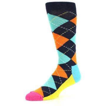 Image of Navy Orange Blue Argyle Men's Dress Socks (side-2-09)