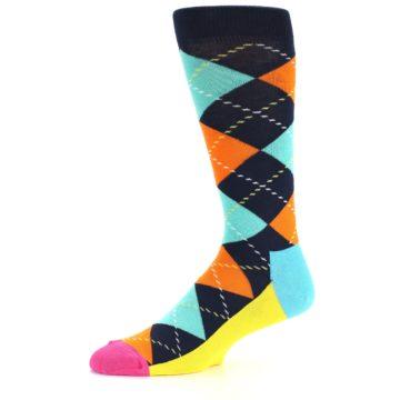 Image of Navy Orange Blue Argyle Men's Dress Socks (side-2-10)
