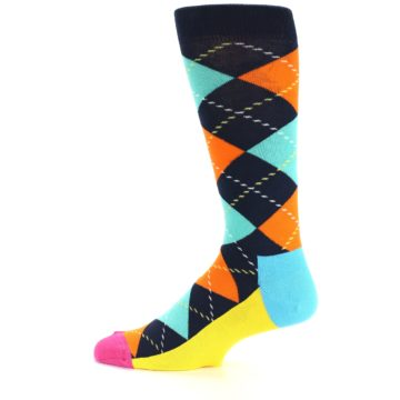 Image of Navy Orange Blue Argyle Men's Dress Socks (side-2-12)