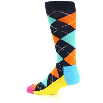 Image of Navy Orange Blue Argyle Men's Dress Socks (side-2-13)