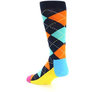 Image of Navy Orange Blue Argyle Men's Dress Socks (side-2-back-14)