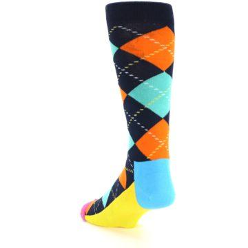 Image of Navy Orange Blue Argyle Men's Dress Socks (side-2-back-15)