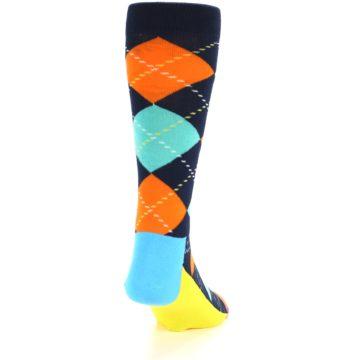 Image of Navy Orange Blue Argyle Men's Dress Socks (back-19)