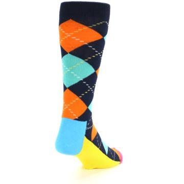 Image of Navy Orange Blue Argyle Men's Dress Socks (side-1-back-20)
