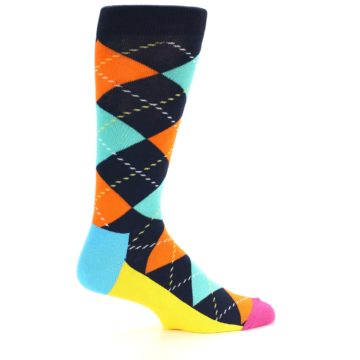 Image of Navy Orange Blue Argyle Men's Dress Socks (side-1-23)