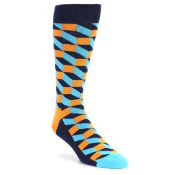 Image of Orange Navy Blue Optical Men's Dress Socks (side-1-front-01)