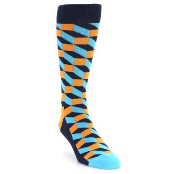 Image of Orange Navy Blue Optical Men's Dress Socks (side-1-front-02)