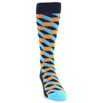 Image of Orange Navy Blue Optical Men's Dress Socks (side-1-front-03)