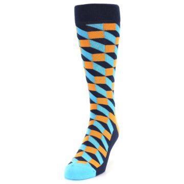 Image of Orange Navy Blue Optical Men's Dress Socks (side-2-front-06)