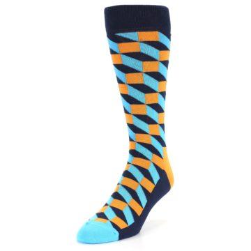 Image of Orange Navy Blue Optical Men's Dress Socks (side-2-front-07)