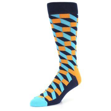 Image of Orange Navy Blue Optical Men's Dress Socks (side-2-front-08)