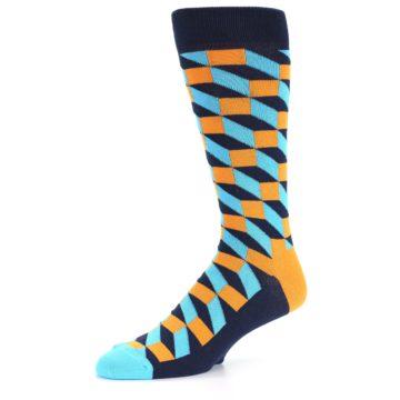 Image of Orange Navy Blue Optical Men's Dress Socks (side-2-09)