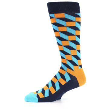 Image of Orange Navy Blue Optical Men's Dress Socks (side-2-10)