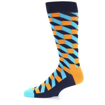 Image of Orange Navy Blue Optical Men's Dress Socks (side-2-11)