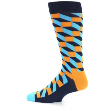 Image of Orange Navy Blue Optical Men's Dress Socks (side-2-12)