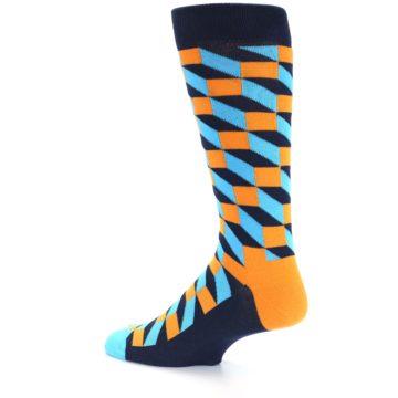 Image of Orange Navy Blue Optical Men's Dress Socks (side-2-13)