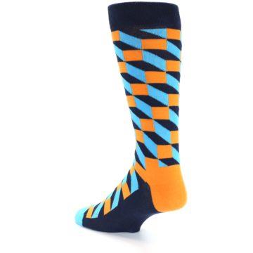 Image of Orange Navy Blue Optical Men's Dress Socks (side-2-back-14)