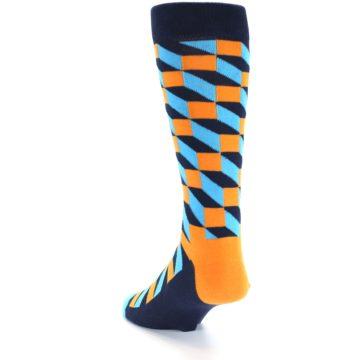 Image of Orange Navy Blue Optical Men's Dress Socks (side-2-back-15)