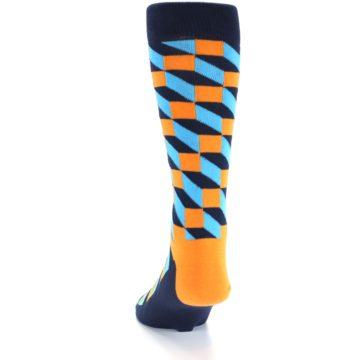 Image of Orange Navy Blue Optical Men's Dress Socks (side-2-back-16)