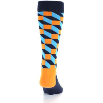 Image of Orange Navy Blue Optical Men's Dress Socks (back-18)