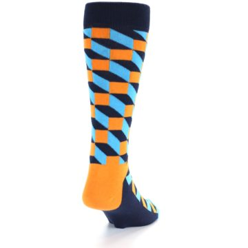 Image of Orange Navy Blue Optical Men's Dress Socks (back-19)