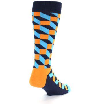 Image of Orange Navy Blue Optical Men's Dress Socks (side-1-back-20)