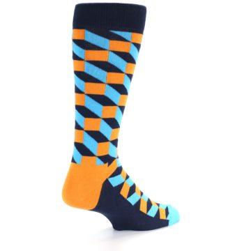 Image of Orange Navy Blue Optical Men's Dress Socks (side-1-back-21)