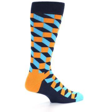 Image of Orange Navy Blue Optical Men's Dress Socks (side-1-back-22)