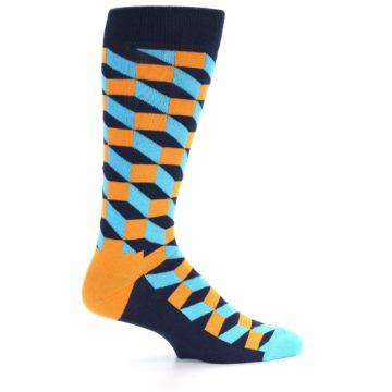 Image of Orange Navy Blue Optical Men's Dress Socks (side-1-23)