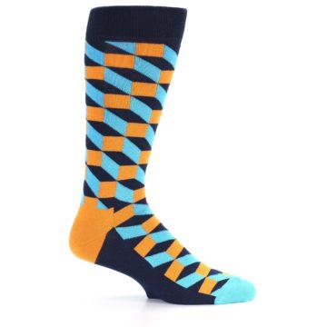 Image of Orange Navy Blue Optical Men's Dress Socks (side-1-24)