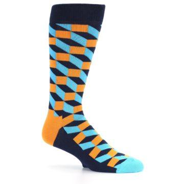 Image of Orange Navy Blue Optical Men's Dress Socks (side-1-25)