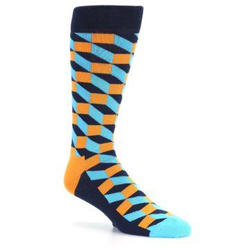 Image of Orange Navy Blue Optical Men's Dress Socks (side-1-26)