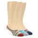 Image of Blue Grey Red Stripe Men's No-See-Um 3 Pack Socks (side-1-front-01)