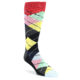 Image of Black Grey Multi-Color Argyle Men's Dress Socks (side-1-front-01)
