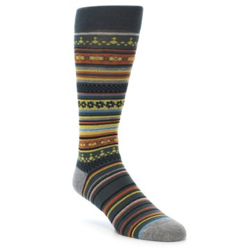 Image of Blue Yellow Orange Stripe Pattern Men's Casual Socks (side-1-front-01)