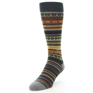 Image of Blue Yellow Orange Stripe Pattern Men's Casual Socks (side-2-front-07)