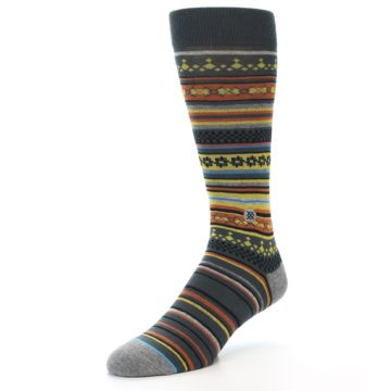 Image of Blue Yellow Orange Stripe Pattern Men's Casual Socks (side-2-front-08)