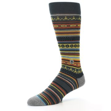 Image of Blue Yellow Orange Stripe Pattern Men's Casual Socks (side-2-09)