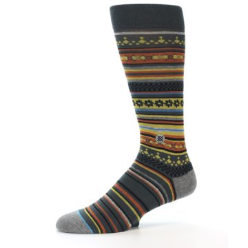 Image of Blue Yellow Orange Stripe Pattern Men's Casual Socks (side-2-10)