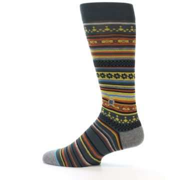 Image of Blue Yellow Orange Stripe Pattern Men's Casual Socks (side-2-12)