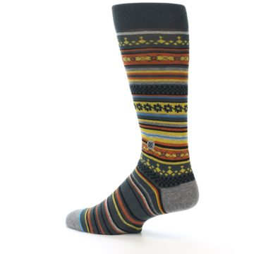 Image of Blue Yellow Orange Stripe Pattern Men's Casual Socks (side-2-13)