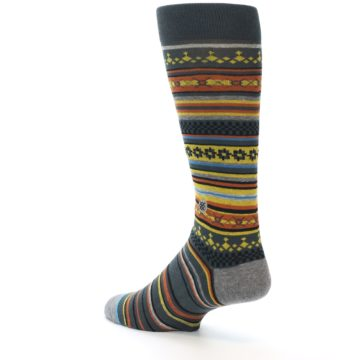 Image of Blue Yellow Orange Stripe Pattern Men's Casual Socks (side-2-back-14)